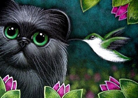 black kitten cat a message from a hummingbird by cyra r