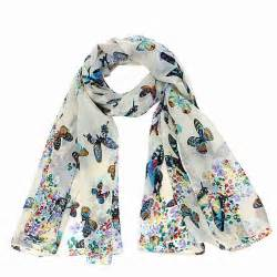 chiffon butterfly print neck shawl scarf