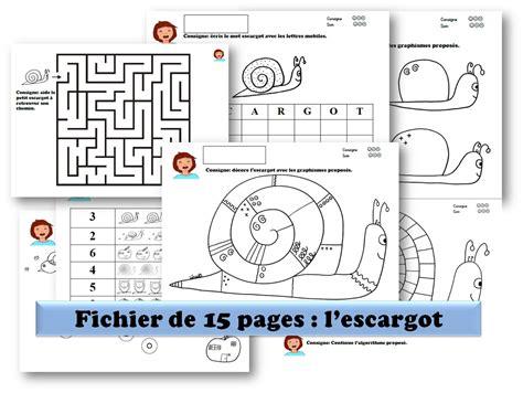 le theme l escargot fichier de 15 pages avec pleins d