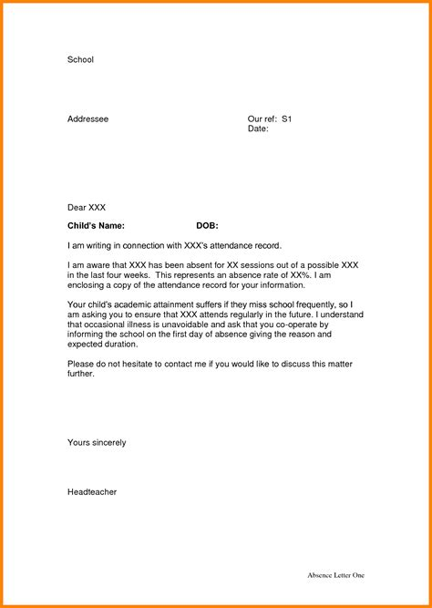 College Absent Letter 3 absence letter from school appeal leter