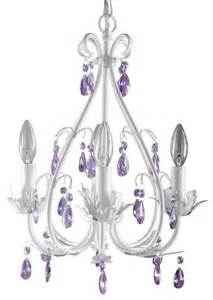 Kid Chandeliers Sophia 4 Arm Crystal Chandelier In White Wtih Purple