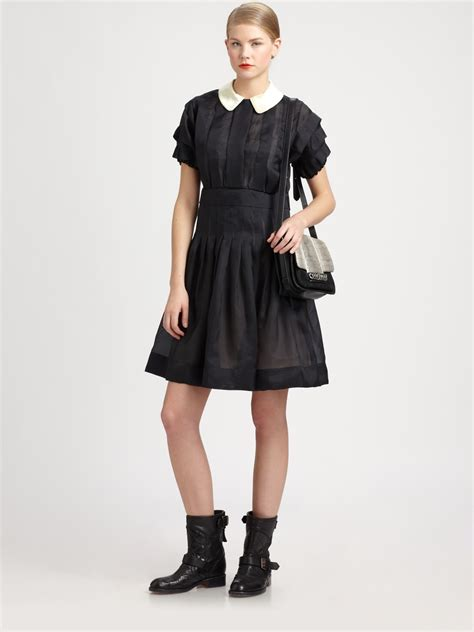 Designer Potw Marc Silk Dress by Marc By Marc Silk Organza Dress In Black