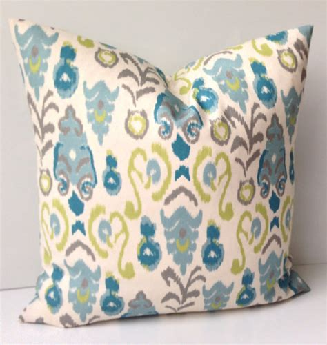 green throw pillows canada ikat pillow cover decorative throw pillow blue green pillow