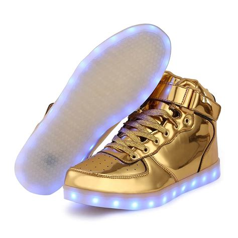 kids light up boots led shoes kids high top gold