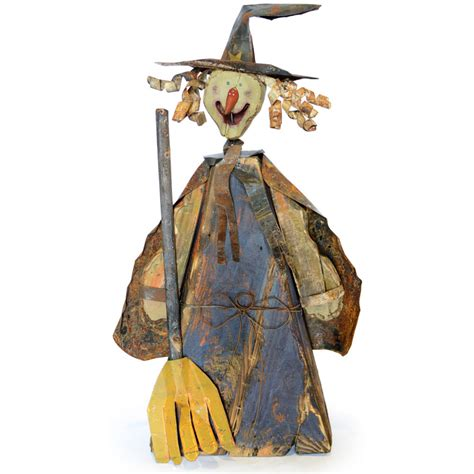 Witch Decorations by 28 Quot Wooden Witch Decoration With Broom Hh3604
