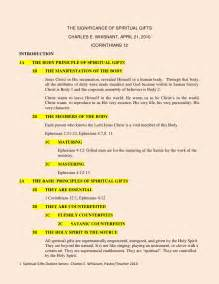 Debate Essay Outline by Spiritual Gifts Outline All