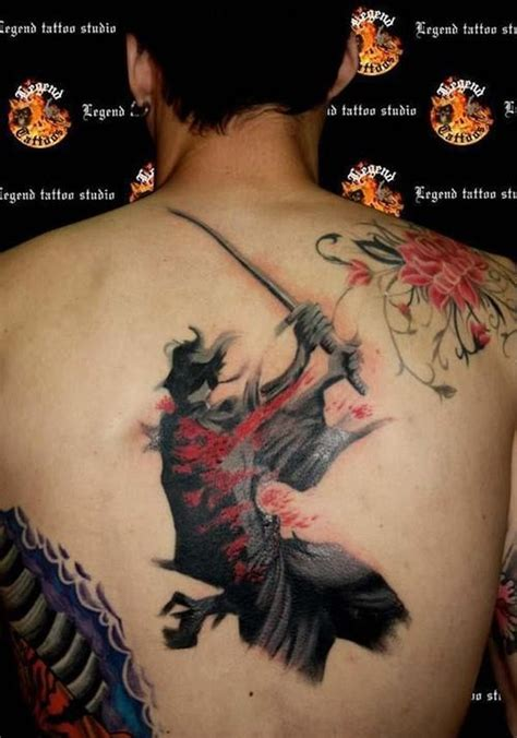 wonderful watercolor japanese samurai tattoo on back