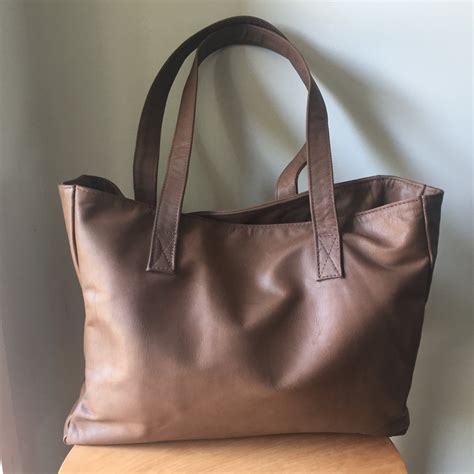 Handmade Leather Tote - brown leather toteleather tote bag handmade leather totetote
