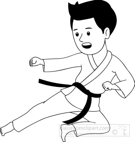 karate clipart martial arts clipart black and white pencil and in color