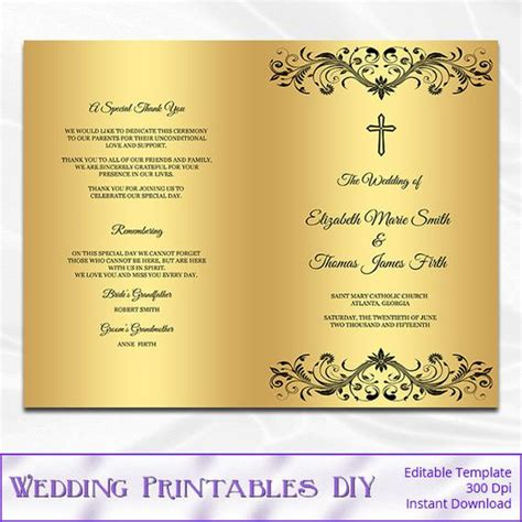 catholic wedding program template diy black and gold foil