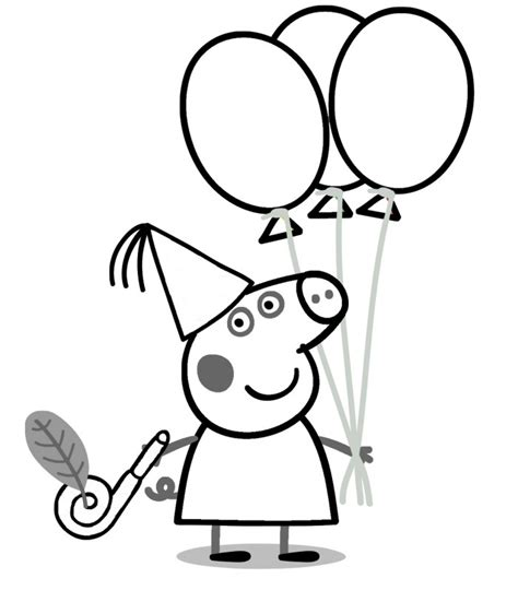 Peppa Pig Birthday Coloring Pages | peppa pig drawing az coloring pages