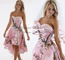 Beach pink camo wedding dresses sweetheart crystal high low camouflage