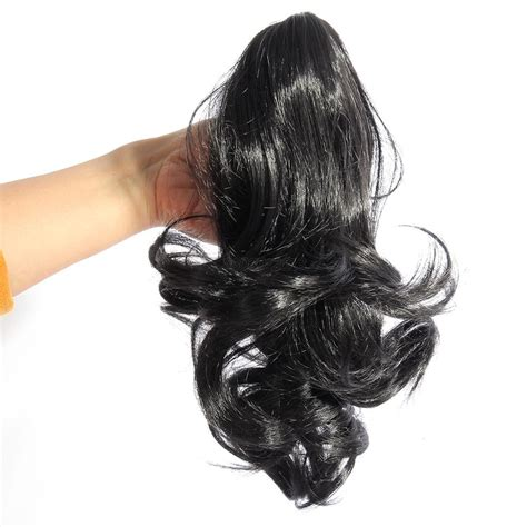Ponytail Jepit Curlyhaircliphair Clipwig hairpiece ponytail clip on extensions wavy curly claw hair new ebay