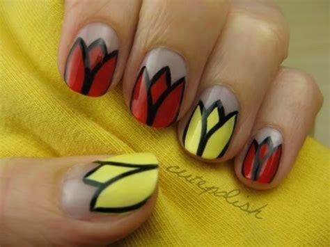 easy nail art by cutepolish tulip flower nail art youtube