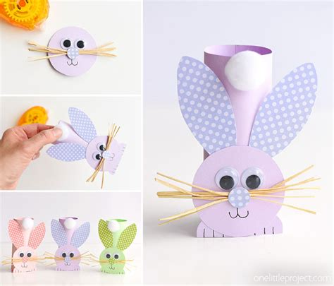 Bunny Toilet Paper Roll Craft - how to make paper roll bunnies