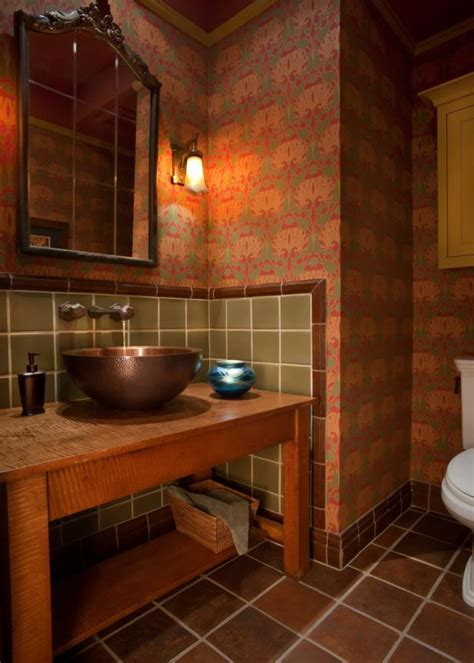 warm  lit bathroom  red wallpaper  green tile