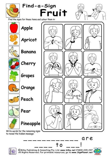 language fr ca exle of auslan workshhet find a sign fruit topic from