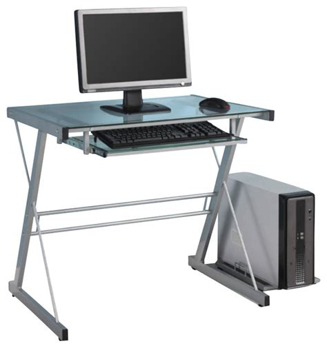 walker edison small glass top computer desk in silver