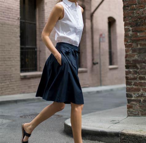 eyelet collared shirt navy tie waist skirt slide sandals