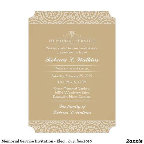 memorial service invitation elegant gold white
