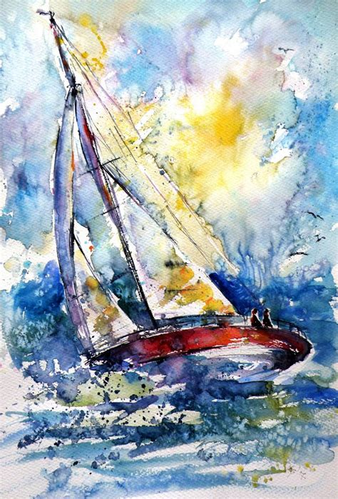 sailboat in wind saatchi art sailboat in the wind ii painting by kovacs