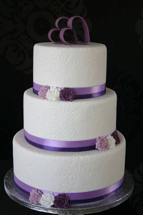 classic purple and white wedding cake with marzipan roses white purple wedding cake cakecentral com