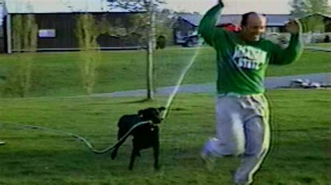 when to give puppy breaking steals hose to give his owner a bath blab