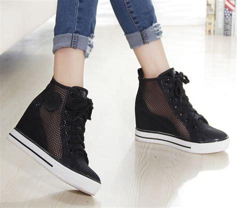 black high heel sneakers new mesh high heel sneakers for black