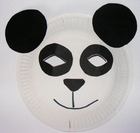 Mask From Paper Plates - panda mask made with a paper plate china