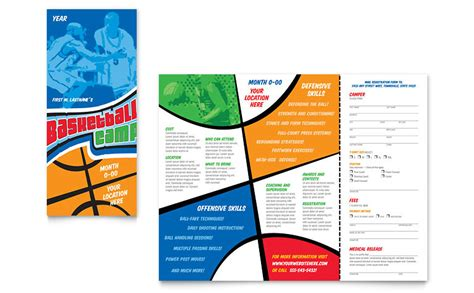 basketball sports c brochure template word publisher