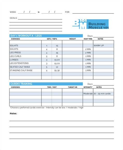 workout chart templates 8 free word excel pdf