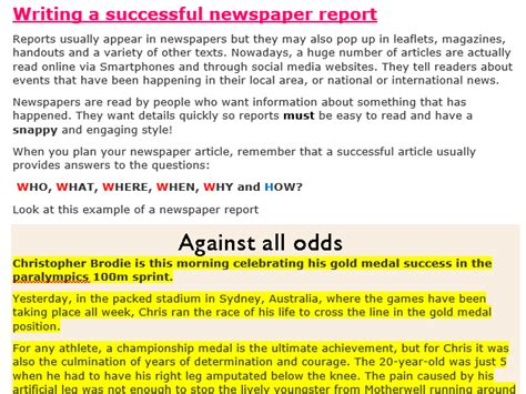 Newspaper Report Writing Year 4 by Writing A Successful Newspaper Article By Misscresources Teaching Resources Tes