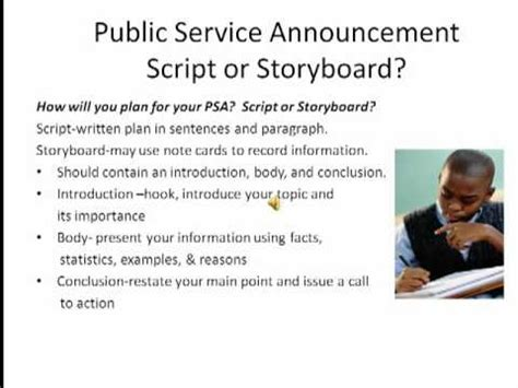 templates for public service announcements psa script storyboard1 mp4 youtube