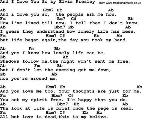 i you song and i you so by elvis lyrics and chords
