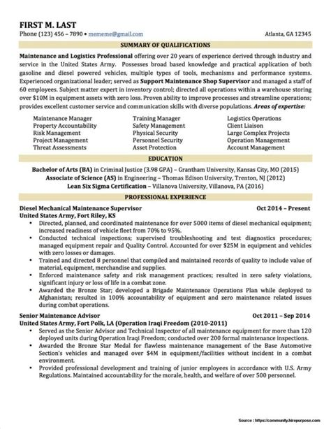 6 sample military to civilian resumes hirepurpose regarding