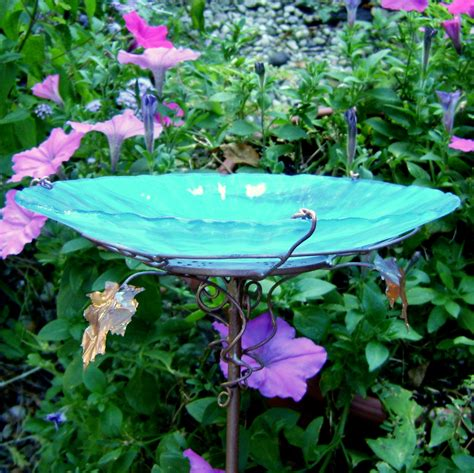 glass bird bath stained glass copper aqua by