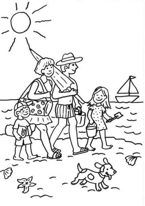 kostenlose malvorlage sommer familie  strand ausmalen