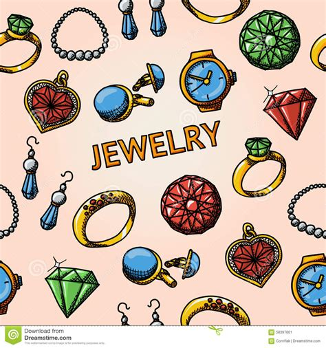 vector pattern jewelery seamless jewelry handdrawn pattern with rings stock