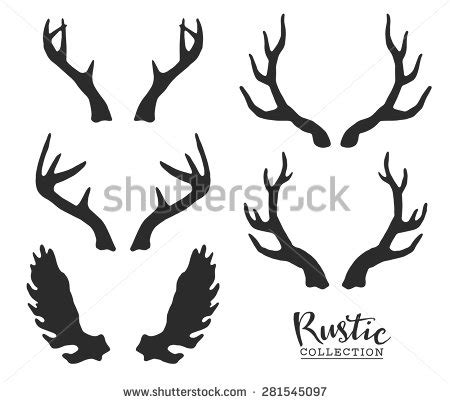 decorative reindeer antlers hand drawn vintage antlers rustic decorative stock vector