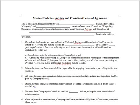 Letter Of Agreement Consultant Recorded Performance Release Onlinemusiccontracts