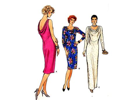 drape neck dress pattern vintage 1980s vogue cowl neck drape back dress sewing pattern