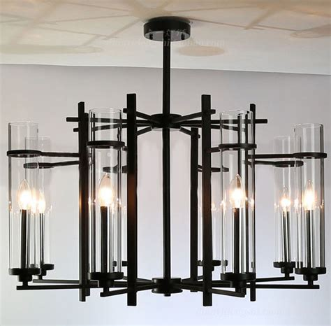 Modern Black Chandeliers Modern Clear Glass Shades And Black Metal Chandelier Modern Chandeliers New York By