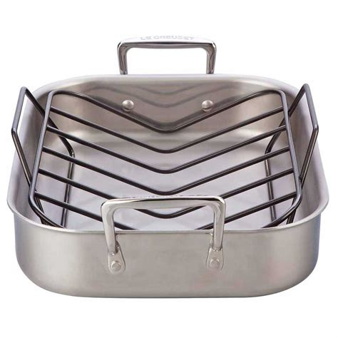 Small Roasting Pan With Rack by Le Creuset Tri Ply Stainless Steel Small Roasting Pan W