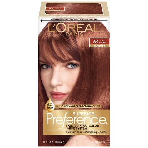 light auburn hair dye l oreal 6r warmer light auburn hair color 1 kt box