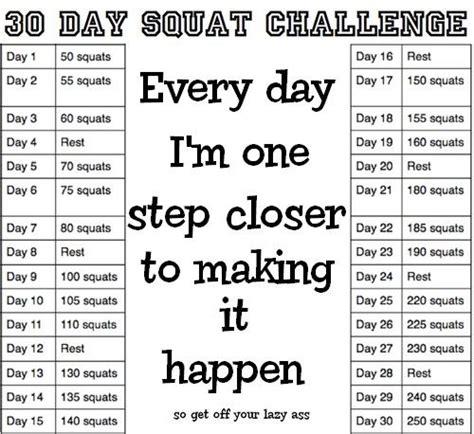 50 day squat challenge chart squat challenge printable chart 30 day squat challenge