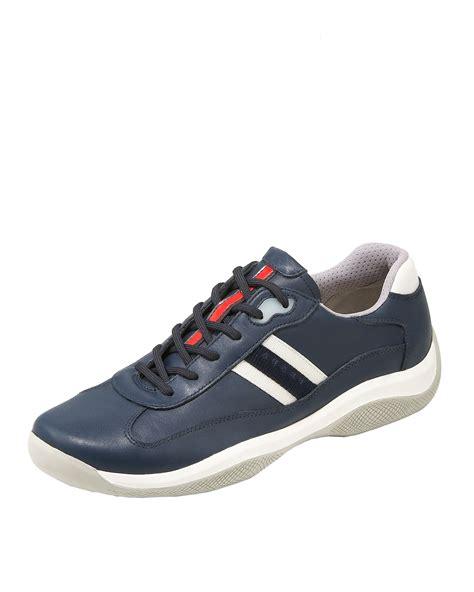 prada sneakers blue prada sneaker navy in blue lyst