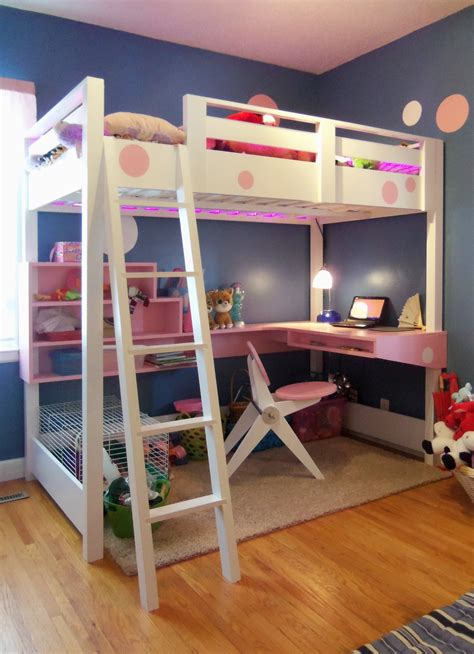 white bunk bed with desk ana white loft bed with desk diy projects