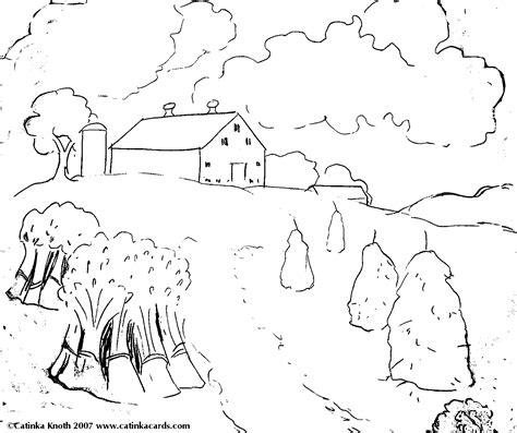 farm landscape coloring pages