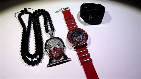 (SOLD)Black/Red/White Boondocks deal! Gangsta Riley Pendant  Black Diamond Cut Chain  LED Iced