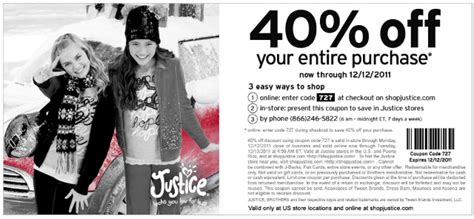 justice outlet printable coupons justice printable coupon